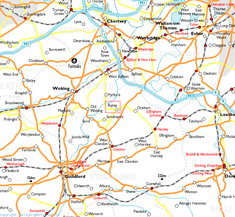 Ripley in relation to neighbouring towns