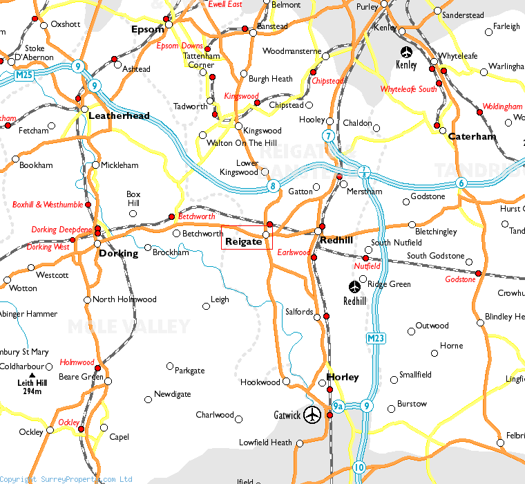 Reigate in relation to neighbouring towns