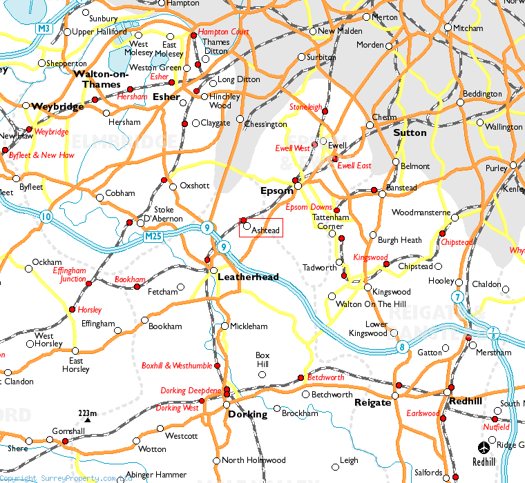 Ashtead in relation to neighbouring towns