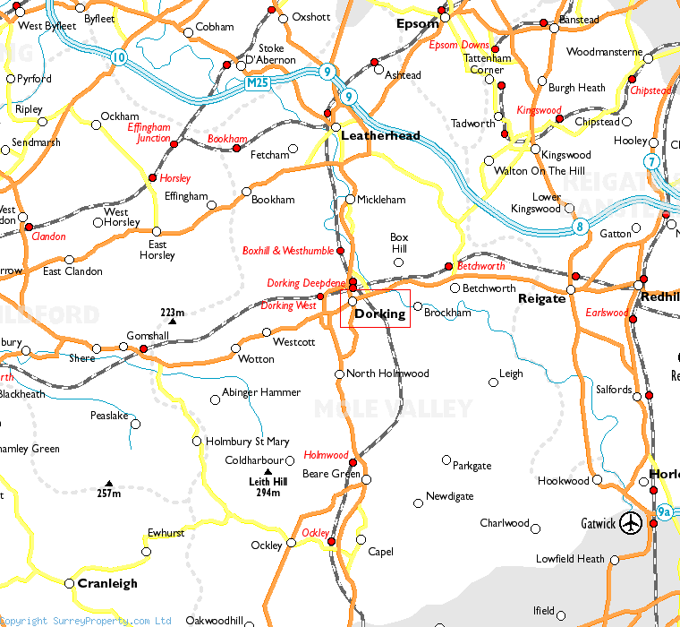 Dorking in relation to neighbouring towns