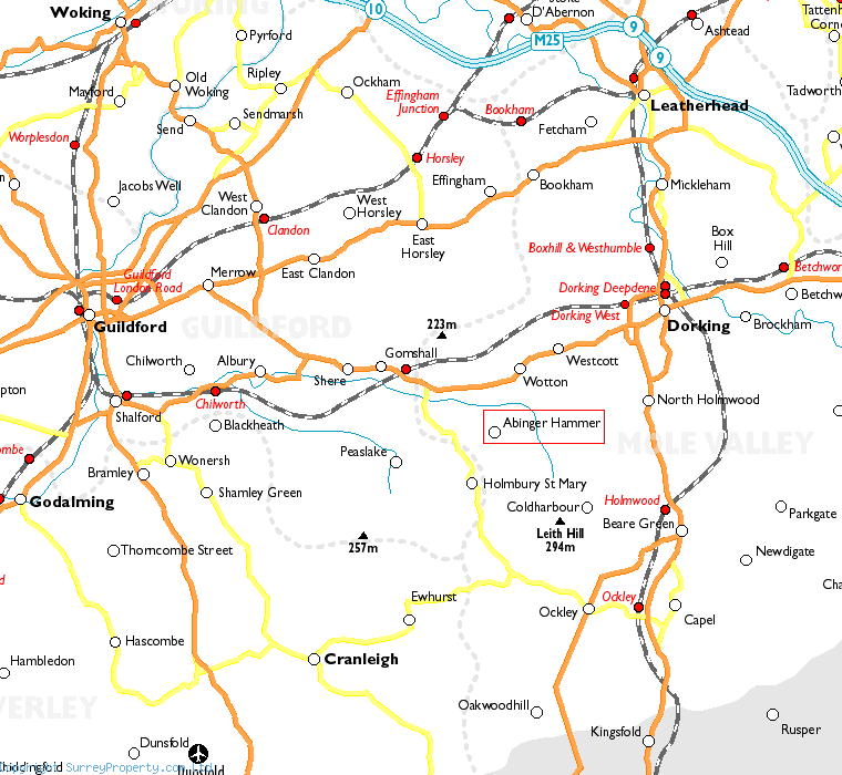 Abinger Hammer in relation to neighbouring towns