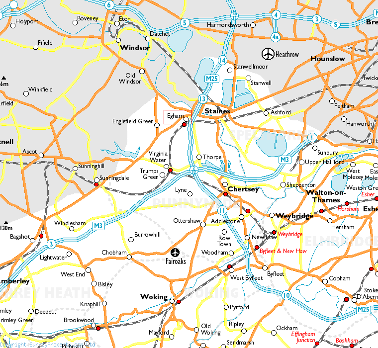 Egham in relation to neighbouring towns