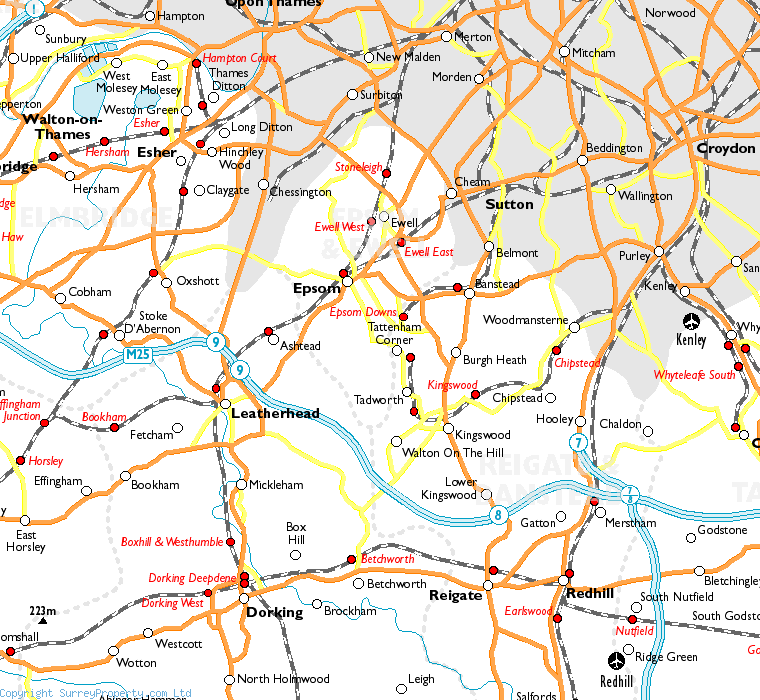 Epsom Downs in relation to neighbouring towns