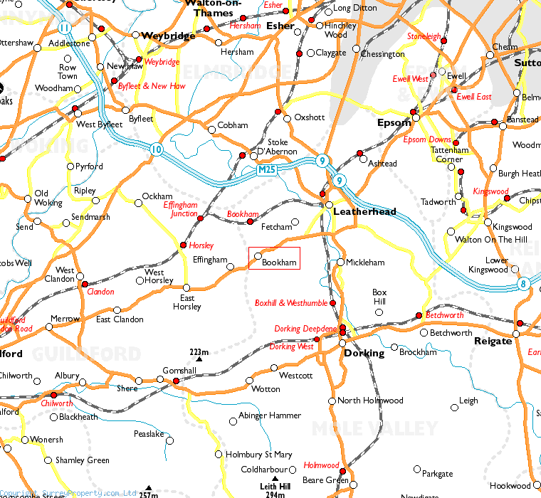 Bookham in relation to neighbouring towns