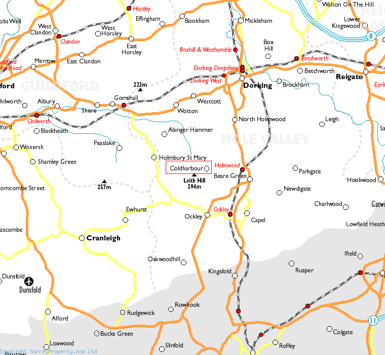 Coldharbour in relation to neighbouring towns