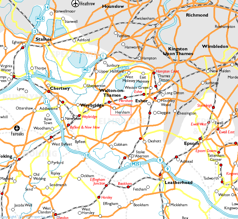 Hersham in relation to neighbouring towns