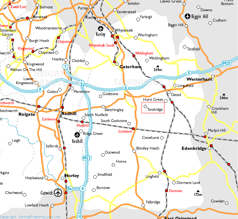 Tandridge in relation to neighbouring towns