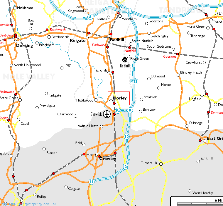 Horley in relation to neighbouring towns