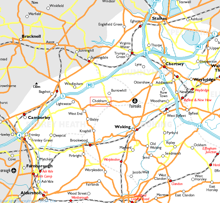 Chobham in relation to neighbouring towns