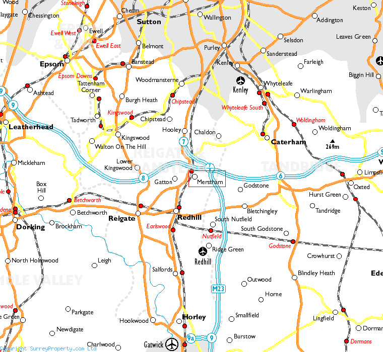 Merstham in relation to neighbouring towns
