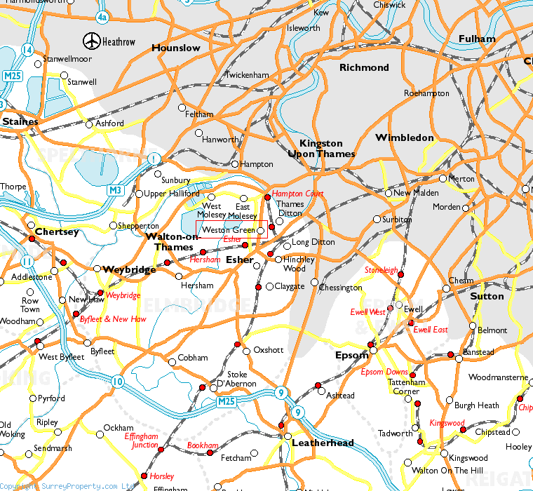Weston Green in relation to neighbouring towns