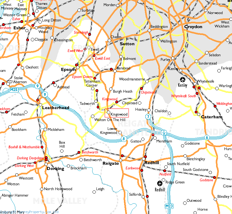 Kingswood in relation to neighbouring towns