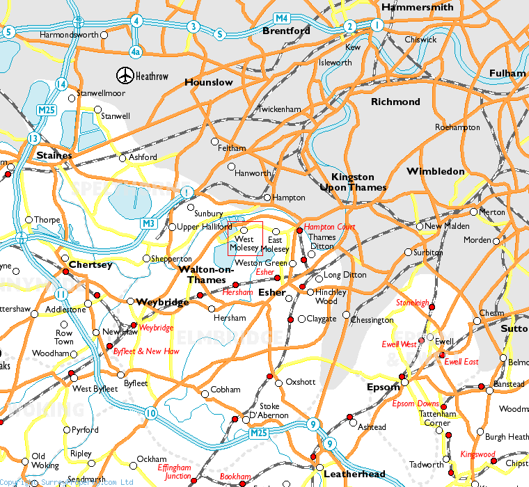 West Molesey in relation to neighbouring towns