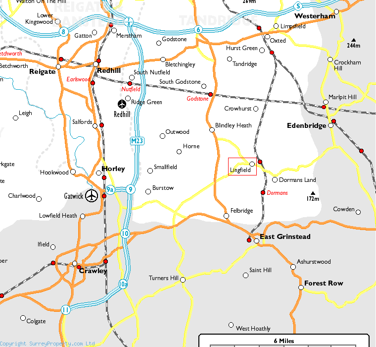 Lingfield in relation to neighbouring towns