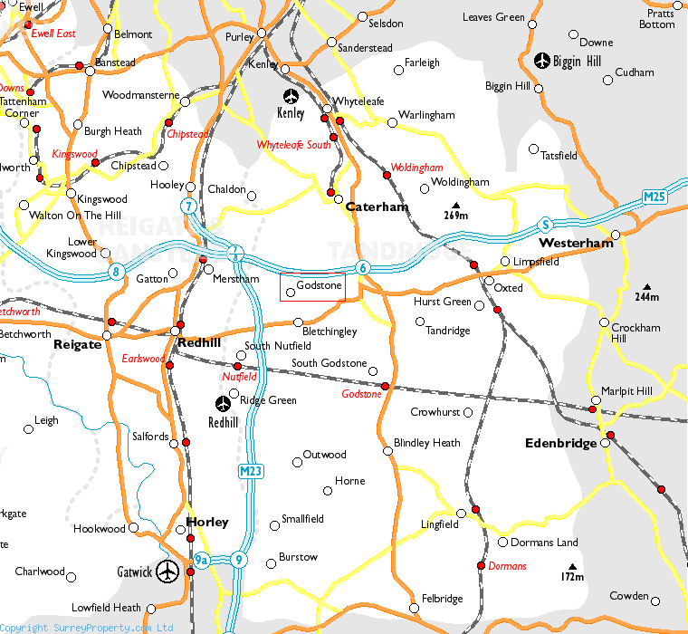 Godstone in relation to neighbouring towns