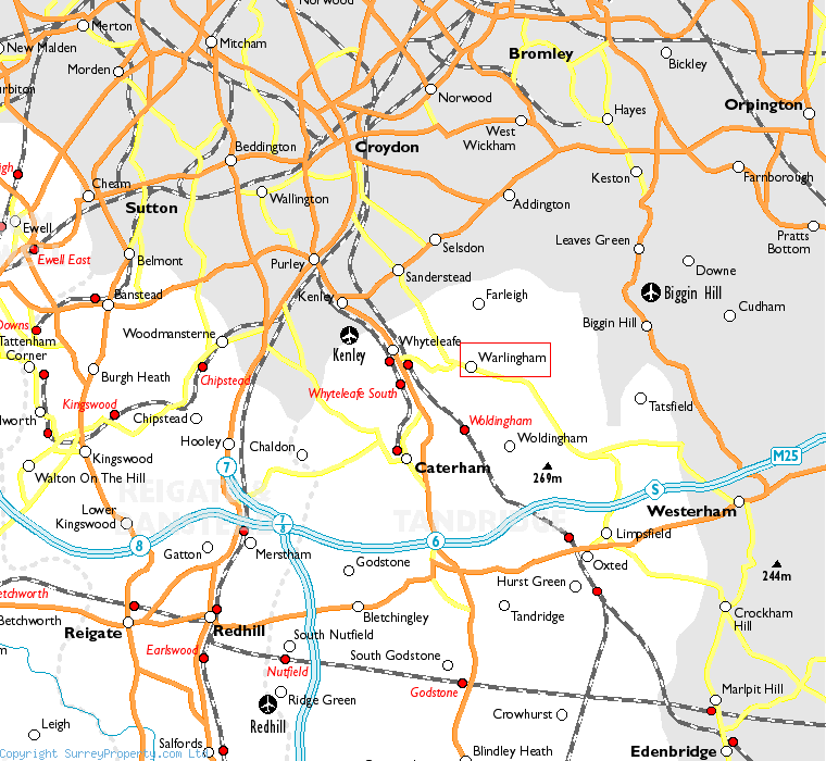 Warlingham in relation to neighbouring towns