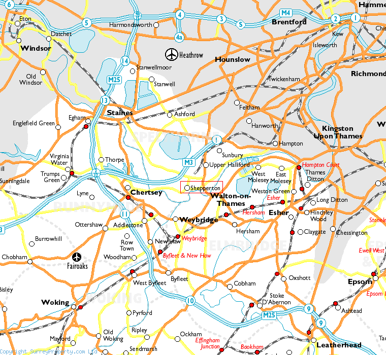 Shepperton in relation to neighbouring towns